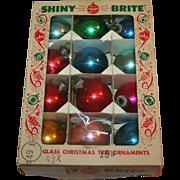 Shiny Brite Christmas Glass Balls, Boxed Set 12 1950s