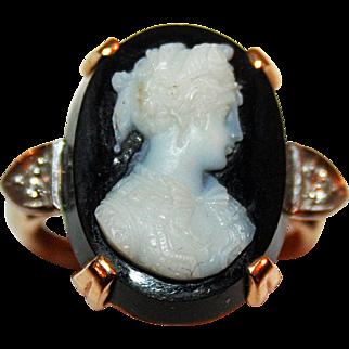 Antique Hardstone Cameo in 14kt Gold w/ Diamonds c1890