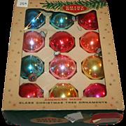 Shiny Brite Large Christmas Glass Balls, Boxed Set 12 1950s