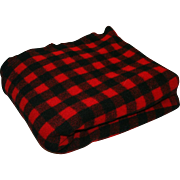 Vintage Wool Blanket Buffalo Check Kenwood Products c1940
