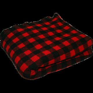 Vintage Wool Blanket Buffalo Check Kenwood Products c1940