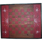 Antique American Folk Art Gameboard w/ Starbursts c1900