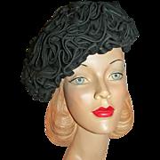 Designer Lucila Mendez Ruffled Hat Horsehair / Chiffon c1960