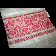 Show Towel c1890 Linen Damask w/ Turkey Red