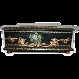 Belle Epoch Jewelry Box w/ Hand Painted Miniature Landscape c1875