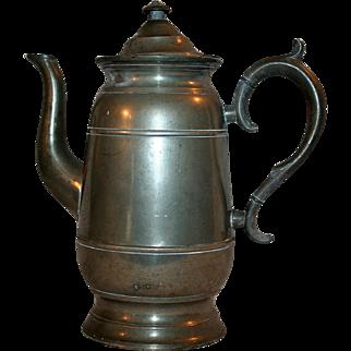 Neoclassical Era Pewter Coffee / Tea Pot c1844 Lyman of Connecticut