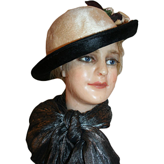 Titanic Period Hat of Sheared Beaver with Velvet Roses c1910-1915