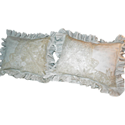 Pair Victorian Pillow Shams Linen Lace Ruffles c1890