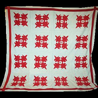 Album Quilt Top w/ Embroidered Initials c1890-10