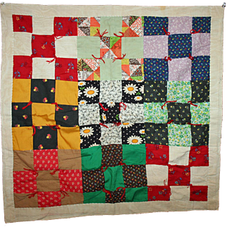 Vintage Doll Quilt ~ Hand Made Patchwork, Cheddar & Calicoes ~ Signed, Dated