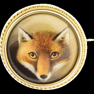 Antique Victorian Fox Head Brooch, Painted Enamel by W.B. Ford