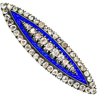 Antique: Victorian Enamel and Diamond Navette Brooch