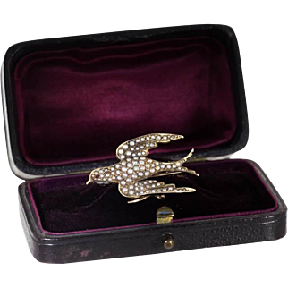 Antique 14 Ct Gold Swallow Brooch, Seed Pearls