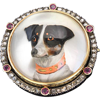 Antique: Dog Brooch, Reverse Intaglio, Essex Crystal Brooch with Jack Russell Terrier, Diamond and Ruby Setting