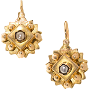 Antique: French 18 kt Gold and Seed Pearl Earrings, Dormeuse