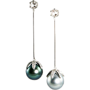 Modern: Tahitian Pearls of Peacock Blue and Pale Grey, Diamond Drop Earrings