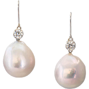 One-of-a-Kind, Large Pale Pink Drop Cultured Pearl Earrings with European Cut Diamonds