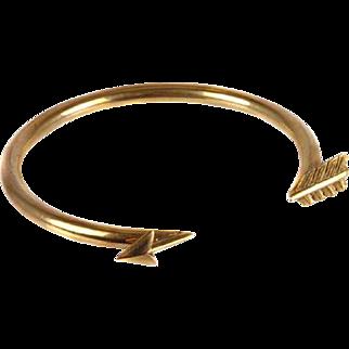 "Vintage: 1920's Gold Arrow Bangle Bracelet/Armlet ""Cupid's Arrow"""