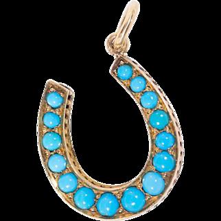 "Antique: Victorian Turquoise Horseshoe Pendant in 18 Ct Gold ""Lucky Streak"""