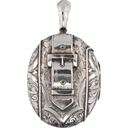 Antique: Large Silver Victorian Buckle Locket and Silver Collar Necklace