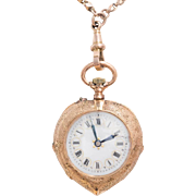 Antique: Pocket Watch as Pendant, Demi-Hunter 15 Kt Rose Gold Case