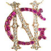 Antique: Ruby and Diamond Initial/Monogram Pendant, 18 Kt Gold
