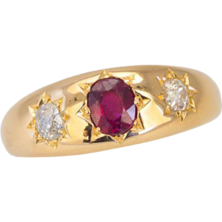 """Antique Victorian Diamond & Ruby Ring """"Gypsy Set"""" in 18ct Gold"""