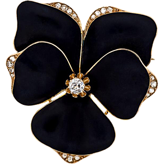 Antique: Large Enamel Pansy Brooch in Gold with Diamonds