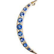 Antique: Edwardian Sapphire and Diamond Crescent Brooch