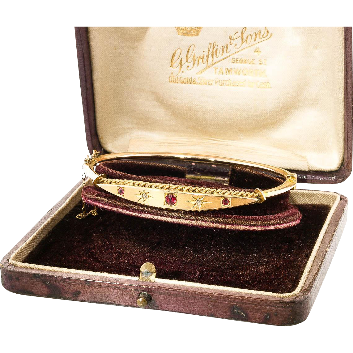 antique ruby amp diamond gold bangle bracelet with box from