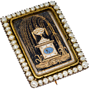 Antique: Georgian Mourning Brooch with Urn and Seed Pearl Border