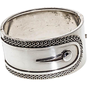 Antique: Victorian Silver Bangle, Button-Cuff