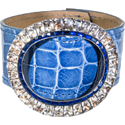 Paste Buckle and Alligator Cuff Bracelet in Denim Blue Glaze