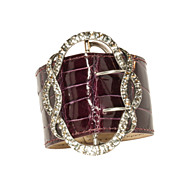 Paste Buckle and Alligator Cuff in Pomegranate Glaze