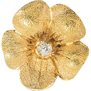 Flower and Diamond Earring, Single Stud