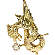 Gold Mythical Beast With Old Mine Cut Diamond Earring, Single Stud