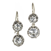 Double Collet-Set Paste in Silver, Drop Earrings