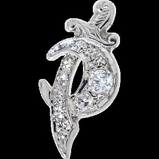 Late Art Deco Diamond Dagger & Crescent Moon, Single Stud Earring in 18 Kt