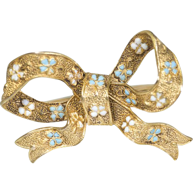 antique gold bow ring with enamel forget me