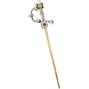 "Diamond Sword Pendant in Platinum & 18 kt Gold ""The Jeweled Fencing Foil"""