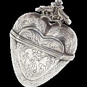 Antique: Silver Heart Pendant, 18th c. Vinaigrette with Love Birds