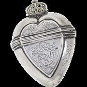 Antique: Silver Heart Pendant, 18th c. Vinaigrette with Crown