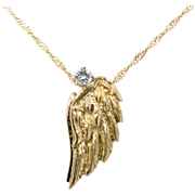 "Vintage: Delicate Gold and Diamond Wing Pendant in 18 kt Gold on 18 kt Gold Chain ""Icarus"""