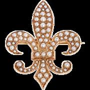 Antique: Pearl Fleur de Lys Pendant & Brooch in 15 Ct Rose Gold
