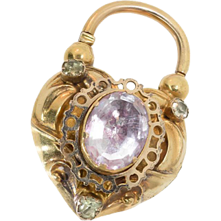 Antique: Large Victorian Gold Heart Padlock Pendant or Clasp, 14 Kt Gold