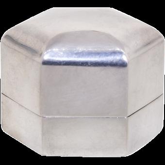Vintage: Sterling Silver Ring Box, Art Deco Hexagon By Ellis Bros.