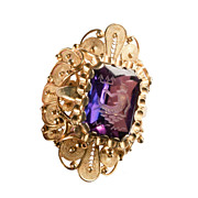 "Antique: Large Carved Amethyst Ring in Spectacular Gold Setting ""The Neptune Ring"""