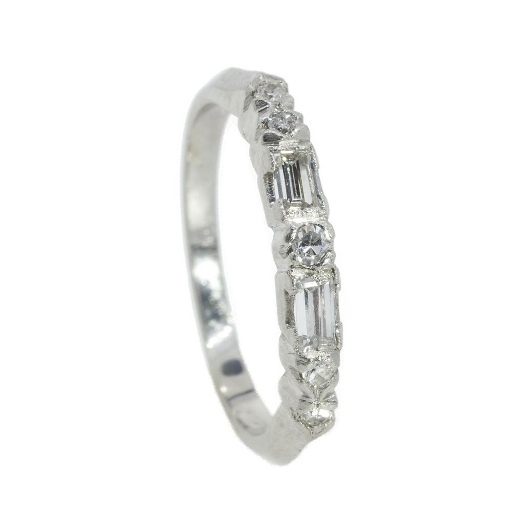Vintage Platinum And Diamond Baguette Round Cut Band SOLD on