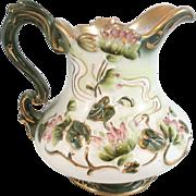 Antique Victorian Art Nouveau D.F. Haynes & Son Cordovan Pattern Pitcher