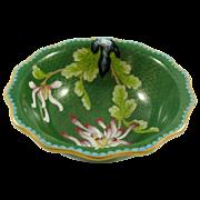 "Vintage Chinese Green Scalloped Edge Lotus Cloisonne Enamel Bowl 7"""